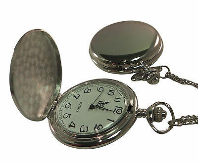 Photo & text engraved / personalised chrome tone pocket watch + gift box - PWC