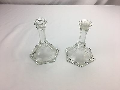 Matching Pair of Clear Pressed Glass Candle Stick Holders