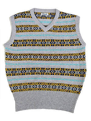 """1940s Forties Vintage Style Wartime WW2 Fairisle Tank Top Grey L 46 - 48"""" Chest"""
