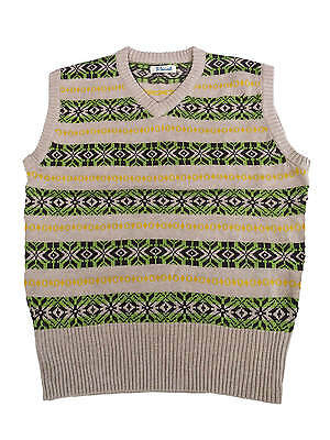 1940s  Fourties Vintage Style Wartime WW2 Fairisle Tank Top Green M 42-44""
