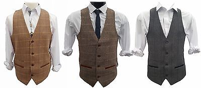Mens Marc Darcy Formal Prom Wedding Checked V-Neck Waistcoat - DX7