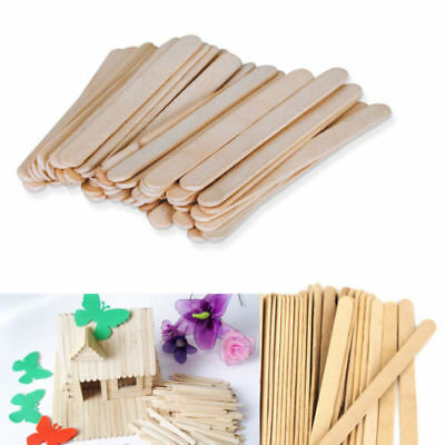 50/100 X Wooden Popsicle Stick Ice Cream Cake Lolly DIY Hand Craft Art Kid Toy
