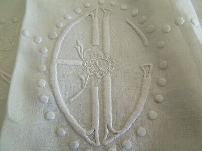 Vintage Large King French Sheet Hand Embroidered Roses Deco Monogram E L FS05