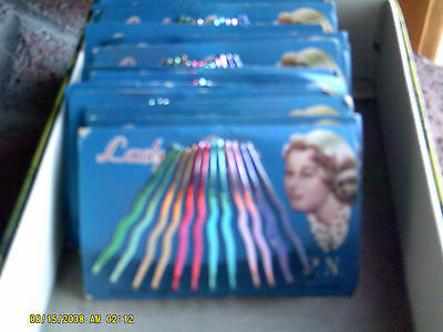 Vintage Lady's Grip 12 Piece Colored Bobby Pins on Card NOS Lot 2 Pkgs FREESHIP(