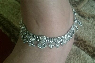 Traditional Hand made Indian Silver Tone Anklet Designer Chain India Tibet