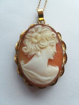 Rare Vintage 1950s Van Dell Cameo Locket 12k Gold Filled + Chain