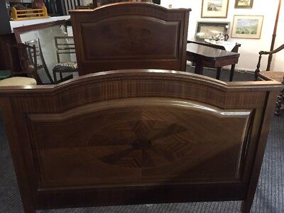 Antique Edwardian Sheraton Solid Mahogany Double Bed With Satinwood Inlay