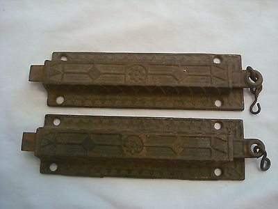 ANTIQUE CAST IRON LATCH LOCK SPRING LOADED DOUBLE DOOR ORNATE LOT of 2