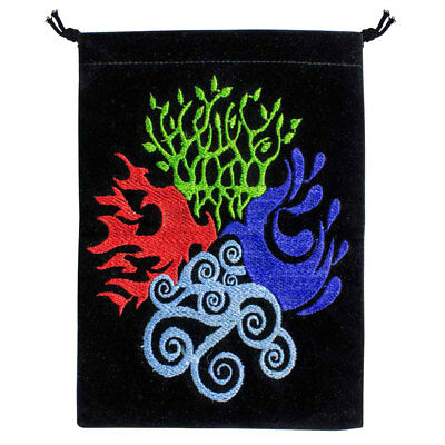 "NEW Four Elements Embroidered Tarot Bag 5x7"" Wicca Pagan Velvet Drawstring Pouch"