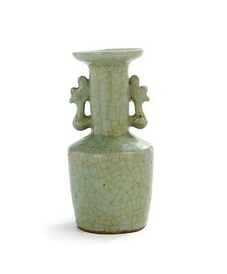 An antique Chinese Longquan celadon vase with phoenix-form handles, Sung dynasty
