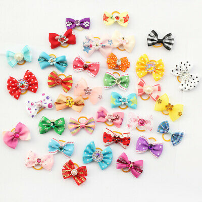 Mixed Pet Small Dog Hair Bow Rubber Band Puppy Cat Ribbon Grooming Accessories