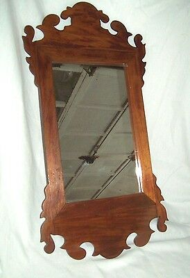 """ANTIQUE CHIPPENDALE SCROLL MIRROR BEAUTIFUL CONDITION 12 x 24"""" 19th century"""