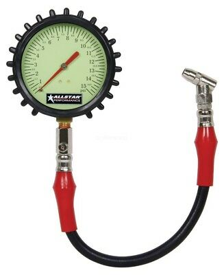 "Tire Air Pressure Gauge Large 4"" 4 inch glow in the Dark 0-15 psi IMCA USMTS UMP"