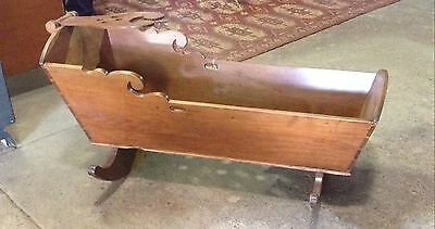 Antique Wooden Handcrafted 1800's Pennsylvania Dutch Baby Cradle