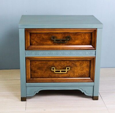 1960s Mandarin 2-Drawers Nightstands With Brass Hardware