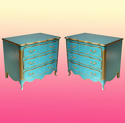 Pair of Mid-century 3-Drawers Blue Commodes