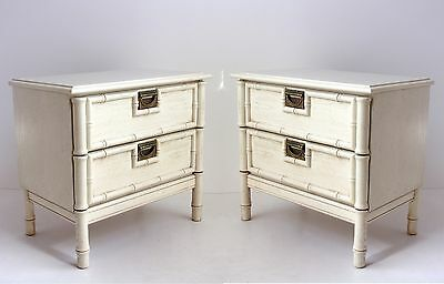 Pair of Mid-Century Bamboo Style Nightstands, Palm Beach Nightstands