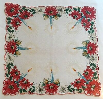 VINTAGE CHRISTMAS HANDKERCHIEF Hankie POINSETTIA Holly Candle Pinecone Red Green