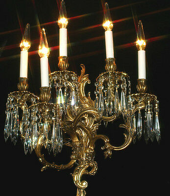 1 sconce 5light Museum CRYSTAL prism Rococo Vintage Gilt Bronze Brass FRENCH