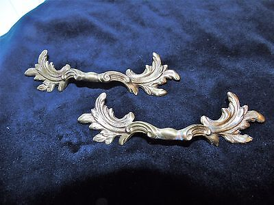 Vintage Antique French Provencal Style Solid Brass Cabinet /Drawer Pulls (2)