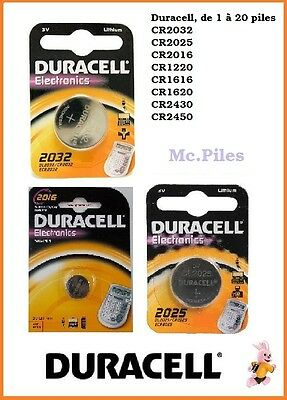 Piles boutons Duracell 3V lithium CR2032
