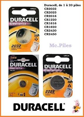 Piles boutons Duracell 3V lithium CR1620