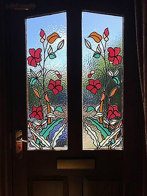 Stained Glass door panels. Original design to match Stovax Victorian fireplace