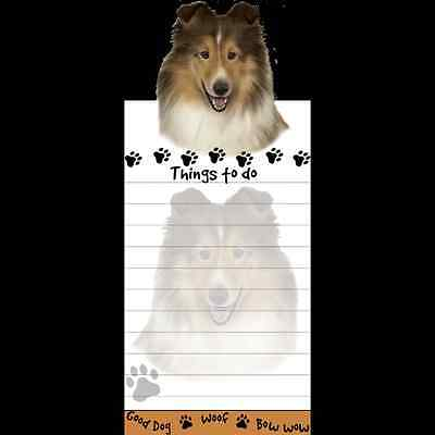 Sheltie Dog Magnetic Grocery List Pad Sticky Notes Magnet Refrigerater
