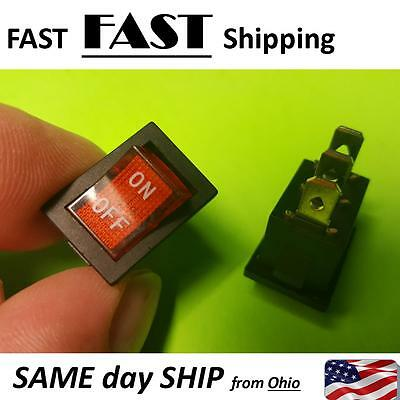 2 PACK -- Red Lamp Neon Light SPST ON-OFF Rocker Switches AC 6A/250V 10A/125V AC