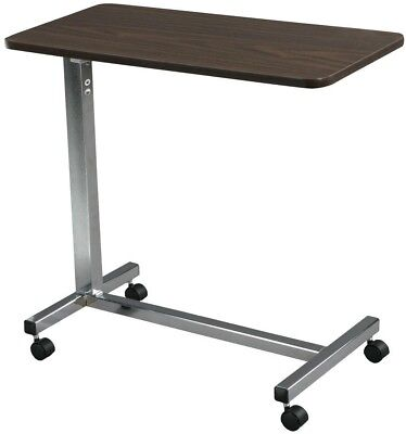 Non Tilt Top Chrome Overbed Table, Desired Height Eat Work Read Computer Surface