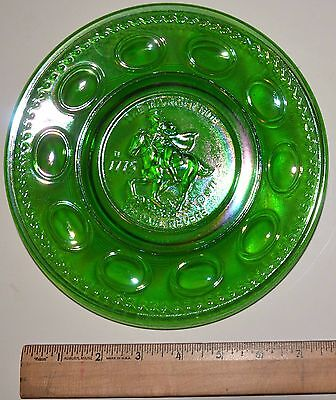 VINTAGE Wheaton Green Glass Dish Plate The Midnight Ride of Paul Revere 8 Inch