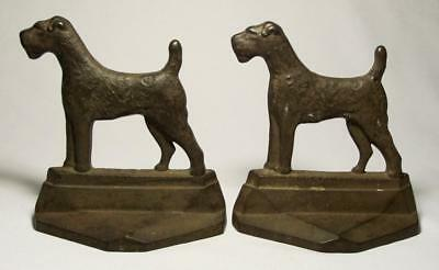 """Vintage Art Deco Cast Iron """"PAL"""" AIREDALE TERRIER DOG BOOKENDS 1929 Conn.Foundry"""