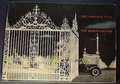 1936 Lincoln Prestige Catalog Brochure K-Body Custom Excellent Original 36