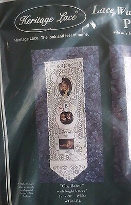 """SEALED heritage LACE BABY PHOTOS WALL HANGING w wire hanger -holds 3 pic 12""""X38"""""""