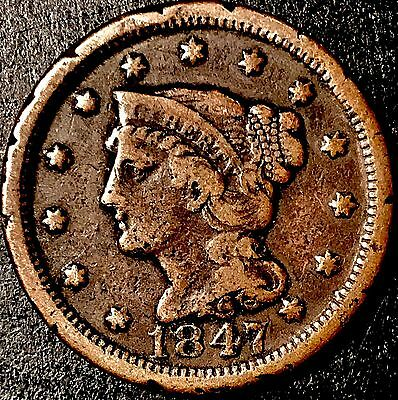 1847 Large 'Braided Hair' Cent {G} [Lot |402|]