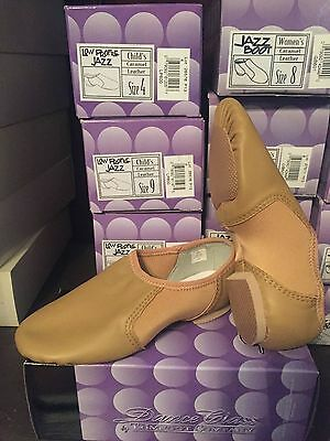 NIB dance class jazz shoes childs leather low profile carmel NEW LP600 Trimfoot