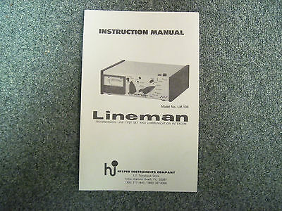Helper Instruments Lineman LM-106 LM106 LM 106 Original Instruction Manual
