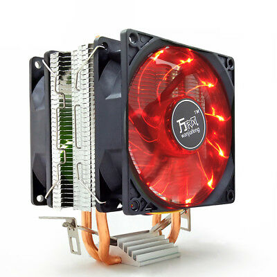 LED Dual Fan Heat Pipe CPU Cooler Quiet Heatsink Radiator for LGA2011 1156 AMD