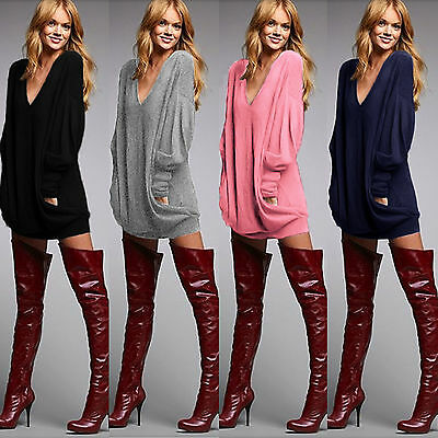 Oversized Womens Baggy Knitted Pullover Jumper Long Sleeve Pocket Sweater Tops