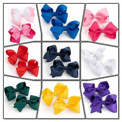Hair Bow Girls Clips School Ribbon Slides Accessory Set Girls Bow School Clip Uk