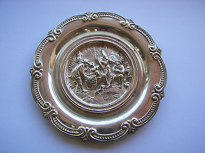 """vintage sterling silver tray ashtray CURACAO Dutch ORNATE signed S&F Round 3+"""""""
