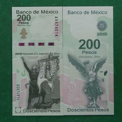 2010 MEXICO 200 pesos banknote Winged victory SERIE A Sub A UNC CRISP