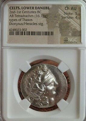 Celts, Lower Danube AR Tetradrachm Thasos NGC Choice AU 5/4 Ancient Silver Coin