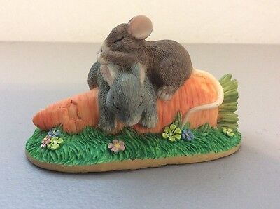 Charming Tails  Mouse & Rabbit Sleeping On A Carrot Silvestri