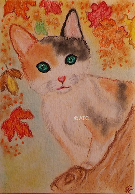 ACEO *Calico Kitten-Animals/Cats/Pets* Original Art Card Signed by Artist