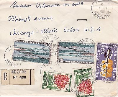 BD799) Ivory Coast 1964 nice registered cover to USA