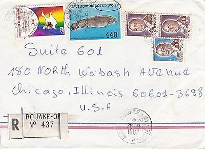 BD801) Ivory Coast 1987 nice registered cover to USA