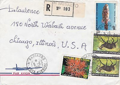 BD802) Ivory Coast 1981 nice registered airmail cover to USA