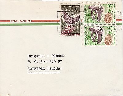 BD812) Ivory Coast 1968 nice airmail cover to Sweden