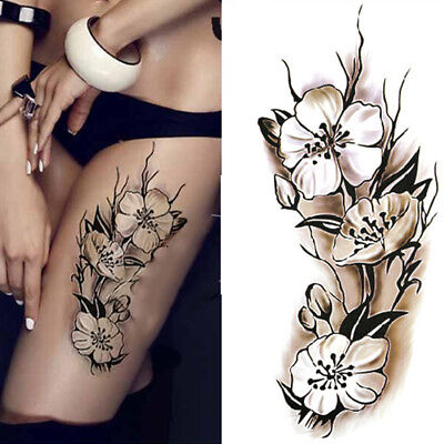 Waterproof Temporary Tattoos 3D Black Plum Blossom Body Art Fake Tattoo Sticker
